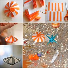 DIY Easy Striped Paper Ornaments for Christmas.  Check tutorial--> http://wonderfuldiy.com/wonderful-diy-easy-striped-paper-ornament/
