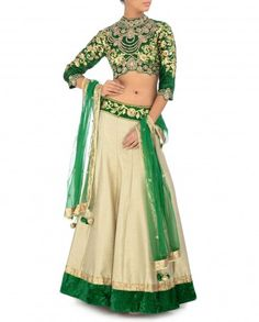 Gota Embellished Emerald and Taupe Lengha Set by Preeti S Kapoor - Indian Ethnic Fashion - Celebrity Style - Indian Designer wear - Traditional Wear of India - Gota Embroidery - #Royal #Goregous #Festive - Ocassion Wear - Golden - Bling - Ethnic Style from Indian Fashion Designer - Indian Ethnic Trends - Festive Color - Latest Fashion Trends - Wedding Wear