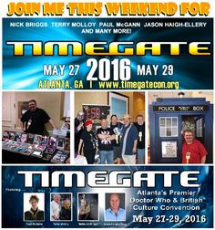 Join me this weekend for #Timegate2016! https://timegatecon.org  I've posted a copy of my schedule at www.bobbynash.com Direct link: http://bobby-nash-news.blogspot.com/2016/05/timegate-2016-panel-schedule-released.html