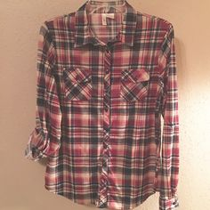 Cool, Cozy & Comfy Botton-Up Shirt Like New Red, Navy and Tan Plaid boyfriend shirt. Made from 100% polyester, and has that Ooohhhhh - awwhhhh so soft feeling! . Bottom up front closure. Sleeves can be left as is for long sleeves or rolled up and fastened into place with a bottom down strap making 3/4 length sleeves. Very attractive and comfy shirt to wear with your favorite jeans or for just chill in' around the house. Lightweight enough to wear for Spring. Bella D Tops Button Down Shirts