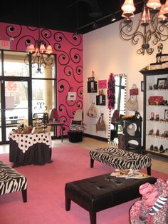 colore pink and black dog salon - Google Search