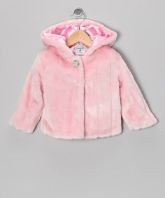Take a look at this Pink Medallion Button Faux Fur Coat - Infant & Toddler by Mud Pie on #zulily today!