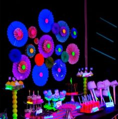 Neon Glow In The Dark Dessert Table