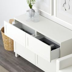 IKEA BESTA White, Selsviken High-Gloss/white Storage combination w doors/drawers Frame Shelf, Plastic Foil, Ikea Family, Drawer Runners, At Home Furniture Store, Drawer Fronts, Interior Accessories, Knobs And Handles, Wood