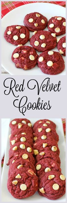 Red Velvet Cookies - A chewy red colored cookie with crispy edges, a hint of chocolate with morsels of white chocolate chips. The perfect Red Velvet flavored cookie.