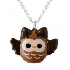 Kawaii Brown Owl Necklace at Shana Logic.
