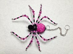 Riku  pink and black glass beaded spider goth sun by llanywynns, $18.00