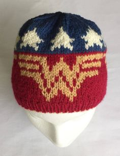 Knitting Pattern for Wonder Woman Hat - Wonder Woman Hat knitting pattern in 3 sizes from 3 years old to adult. Designed by imalulu