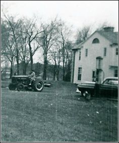 Elvis on his tractor at the back of Graceland