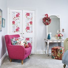 Bedroom Ideas: Shabby Chic Bedroom with Pink Accent Chair also Rose Patterned Doors plus Reclaimed Wood Dressing Table and Rose Throw Pillow