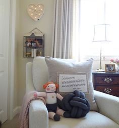 Easy like Sunday morning in this beautiful little corner. Our new knot pillow is so cray cray in this rocker! Modern Bedroom Decor, Nursery Room Decor, Girl Nursery, Baby Decor, Kids Decor, Decor Ideas, Knot Pillow, Knot Cushion, Comfy Bedroom