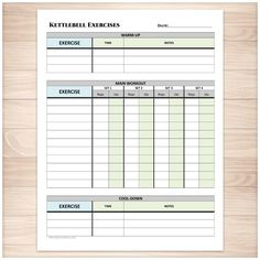 Kettlebell Exercises Sheet with Warm-up and Cool-down - Printable