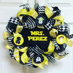 Star Wars Wreath-Mini, Star Wars Decor, Teacher Wreath-Mini, Classroom Wreath-Mini, Teacher Appreciation Wreath-Mini by Texascaseyscreations on Etsy