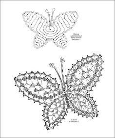 """Photo from album """"Кружевные бабочки"""" on Yandex. Crochet Butterfly Pattern, Crochet Lace Edging, Crochet Square Patterns, Crochet Doilies, Crochet Angels, Crochet Birds, Thread Crochet, Yarn Flowers, Crochet Flowers"""