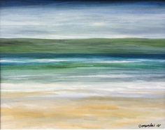 SALE! Watercolor Beach Painting Ocean Painting Framed Modern Beach Art  Contemporary Abstract Seascape  Seascape Beach Original Seascape