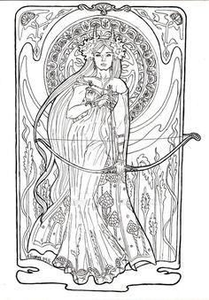 Fairy Coloring Pages for Grown UPS Selena Coloring Pages For Grown Ups, Fairy Coloring Pages, Adult Coloring Book Pages, Printable Adult Coloring Pages, Coloring Books, Jugendstil Design, Book Of Shadows, Fantasy Art, Art Nouveau