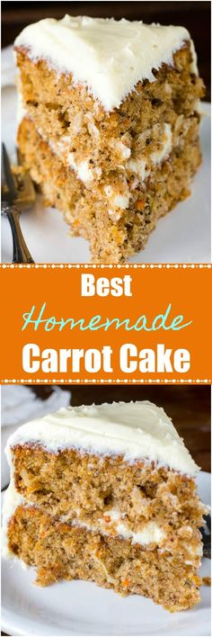This is the Best Homemade Carrot Cake because it is a sweet, moist cake packed with pecans, coconut, pineapple, and, of course, carrots! #CarrotCake #Cake
