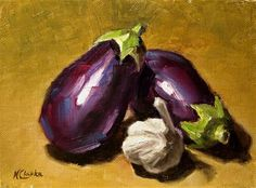 "Daily Paintworks - ""Still life with two eggplants ..."" by Natalia Clarke"