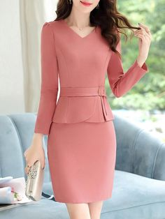 V-Neck Plain Bodycon Dress Modest Dresses, Cute Dresses, Casual Dresses, Peplum Dresses, Fashion Wear, Fashion Outfits, Womens Fashion, Mode Lolita, Classy Work Outfits