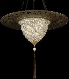 Fortuny Lighting Luminoso Design Samarkanda Murano Glass in Gold Serpentina Pattern with Metal Ring