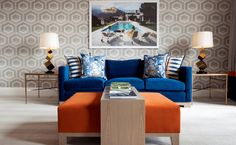 Living room with blue and orange combination