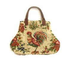 French Country Waverly Rooster Fabric Handbag Purse Red Yellow Blue Green Honey. $52.00, via Etsy.