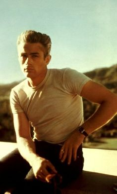 James Dean in his iconic tshirt portrait