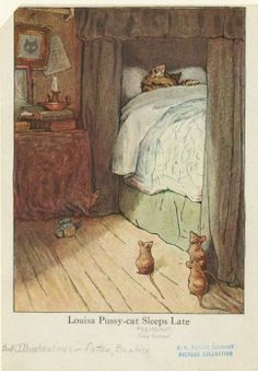 The title of this sweet little copy of an illustration in Beatrix Potter's story The Fairy Caravan reads 'Louisa Pussy-cat sleeps late.'