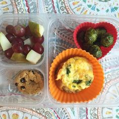 School lunch: organic grapes and pears, roasted Brussels sprouts and mini quiches (leftover from dinner) and a @drlucys chocolate chip cookie. #schoollunch #lunchbox #bento #lunchtime #healthykids #healthytips #superstartshere