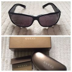 HP City ChicNWOT Auth Gucci Sunglasses  I bought this glasses and never wore them.  They still have the sticker over the lense.  The top of the case has very minor wear just from storage and sitting in my closet.  Please look at all the pictures and feel free to ask questions!  Gucci Accessories Sunglasses