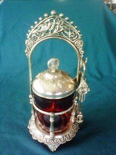 A vintage Pickle Castor. Tiffin Carrier, Brides Basket, Pickle Jars, Food Containers, Vintage Table, Pickles, Tea Pots, Glass Art, Victorian