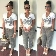Cute casual look Camo Fashion, Black Girl Fashion, Curvy Fashion, Fashion Looks, Womens Fashion, Camo Outfits, Sexy Outfits, Casual Outfits, Fashion Outfits