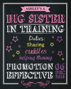 Sibling Announcement Artwork Big Sister Big by AmyGemptonDesign