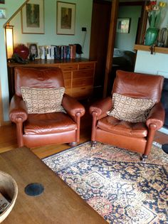 Pair leather club chairs