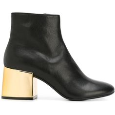 Mm6 Maison Margiela metallic heel ankle boots featuring polyvore, women's fashion, shoes, boots, ankle booties, black, short black boots, short leather boots, ankle boots, black leather ankle booties and black bootie boots