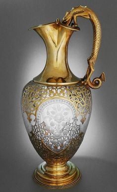 An Antique Glass & Silver Gilt, English Claret Jug (with a great sense of humour - the handle shows a Newt drinking from a bucket) - created by Stephen Smith of London 1865 - photo (© by www.karaffensammler.at) ♥♡♥