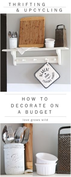 and Upcycling: How to Decorate on a Budget How to Decorate on a Budget! Tips and tricks for thrifting your way to a beautiful home! at How to Decorate on a Budget! Tips and tricks for thrifting your way to a beautiful home! Apartment Living, Home Improvement, Kitchen Decor, Decorating On A Budget, Home Decor, Apartment Decor, Home Deco, Home Diy, Thrifting