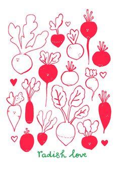 Radish illustration by Studio Sjoesjoe Fruit Painting, Fabric Painting, Vegetable Illustration, Arte Floral, Kids Prints, Food Illustrations, Cute Illustration, Doodle Art, Art Paintings