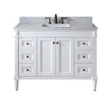 Single Bathroom Vanity In White With Marble Top And Square Sink
