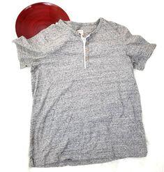 Merona Mens Shirt Size XL Gray Space Dye 1/4 Button Down Short Sleeve Henley 532 #Merona #Henley