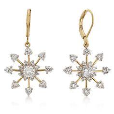 Snowflake earrings for women | Diamond Cz Snowflake Chandelier Earrings