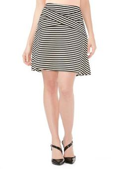 Cato Fashions Striped Cross Front Ribbed Skirt #CatoFashions $21.99