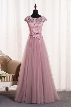 Blush Round Neck Cap Sleeve Applique Long Prom Dress,Tulle Evening Dresses,2018 Bridesmaid Dress by prom dresses, $161.00 USD