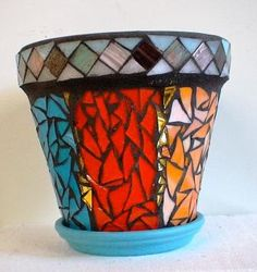 Mosaic Flower Pot - Jacqueline Bautista, 14 - Lake View H.S. - Mosaic Collaborative - Spring Bridge 2013 - SOLD
