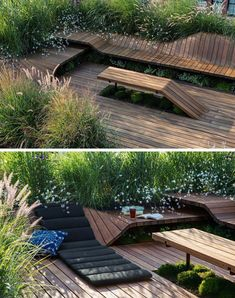 Jeremy Jih of J.Roc Design recently completed Wood Flow, a sculpted, modular roof deck that's 600 square feet in size and surrounded by greenery. A pergola made from Sapele wood slats sits above a. Roof Architecture, Sustainable Architecture, Rooftop Deck, Garden Seating, Terrace Garden, Building A Deck, Interior Exterior, Patio Design, Garden Furniture
