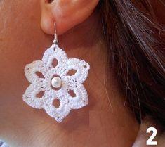 Diy Crafts - Crochet Beaded Earrings gift for women lace earrings Crochet Jewelry Patterns, Crochet Earrings Pattern, Crochet Accessories, Diy Crafts Crochet, Crochet Gifts, Crochet Projects, Lace Earrings, Etsy Earrings, Quilling Earrings