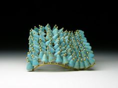 Jacqueline Ryan 18kt gold and vitreous enamel brooch