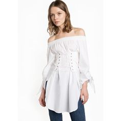 Corset TIe White Off The Shoulder Top ($65) ❤ liked on Polyvore featuring tops, blouses, off shoulder blouse, white off shoulder blouse, white off the shoulder blouse, white tie-neck blouses and white off the shoulder top