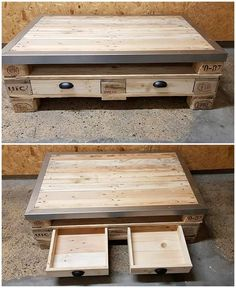 The rustic wood pallet use in the decoration of this amazing coffee table will stand out the whole creation to be the attention-grabbing feature for others. Wood Pallet Fence, Pallet Frames, Wood Pallet Tables, Wood Pallet Recycling, Wood Pallet Signs, Wooden Pallets, Unique Furniture, Pallet Furniture, Wood Projects