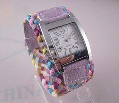 Rainbow Knit Braided Watch Leather wristwatch Korean fashion woven strap retro ladies women bracelet watch Dropshipping